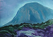 mountain in blue haze