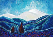 two figures contemplate the mountains
