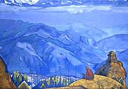 disciple looking out over mountain range and village
