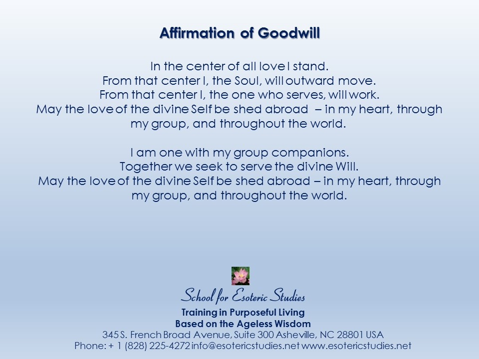 Affirmation of Goodwill