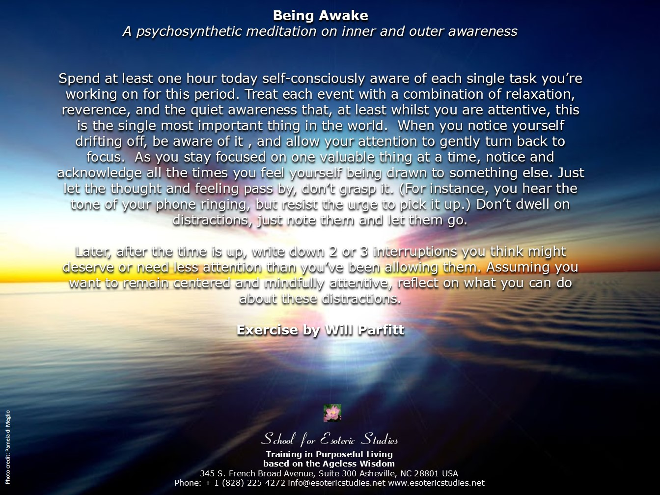 Psychosynthesis exercise for increasing awareness