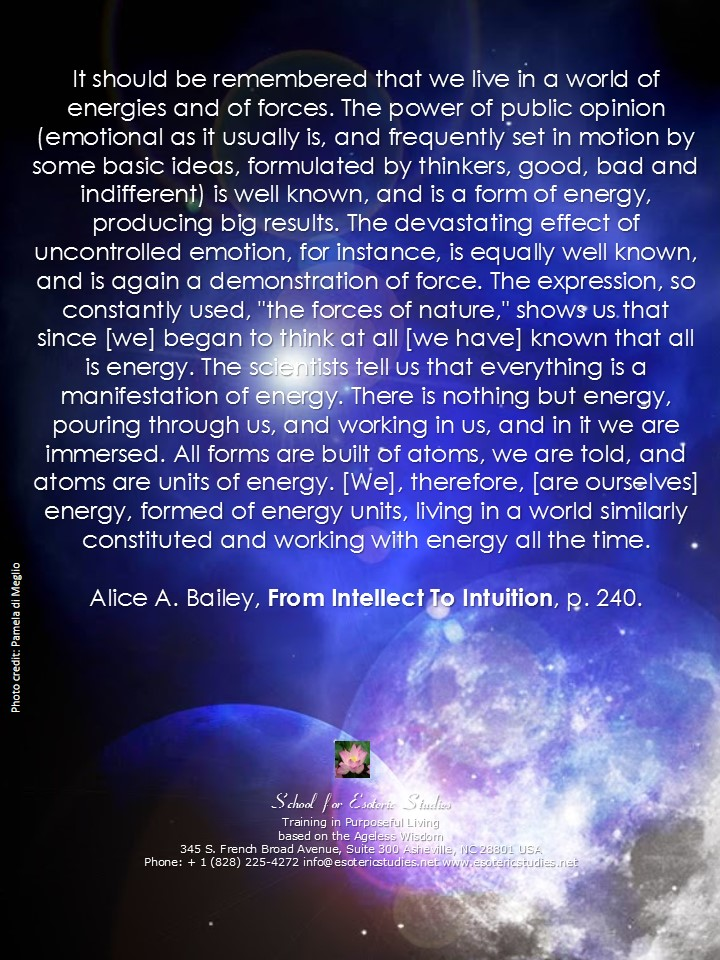 Quote about the world of energies