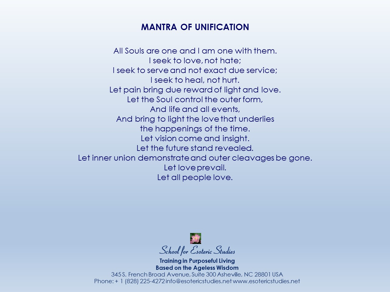 Mantra of Unification